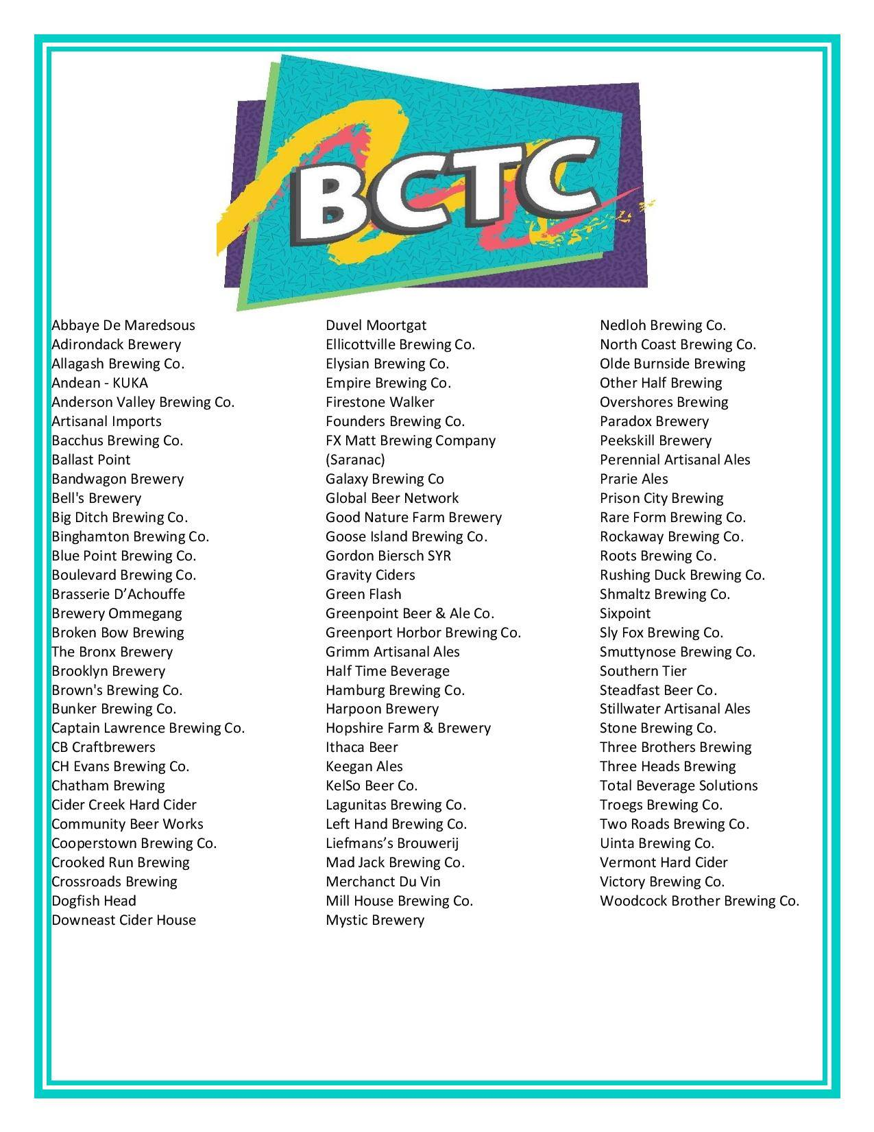 BCTC brewery list 2015 at Ommegang