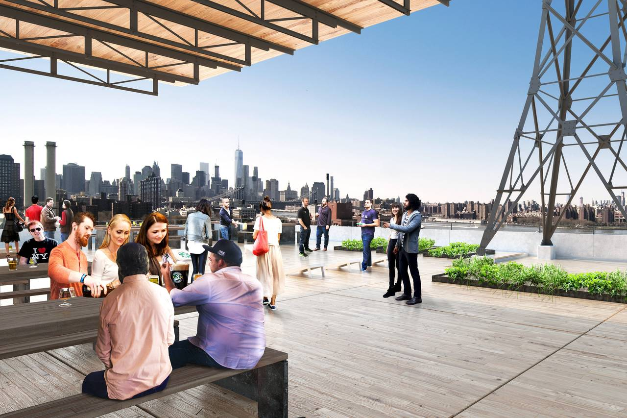 Brooklyn Brewery Navy Yard rooftop beer garden rendering
