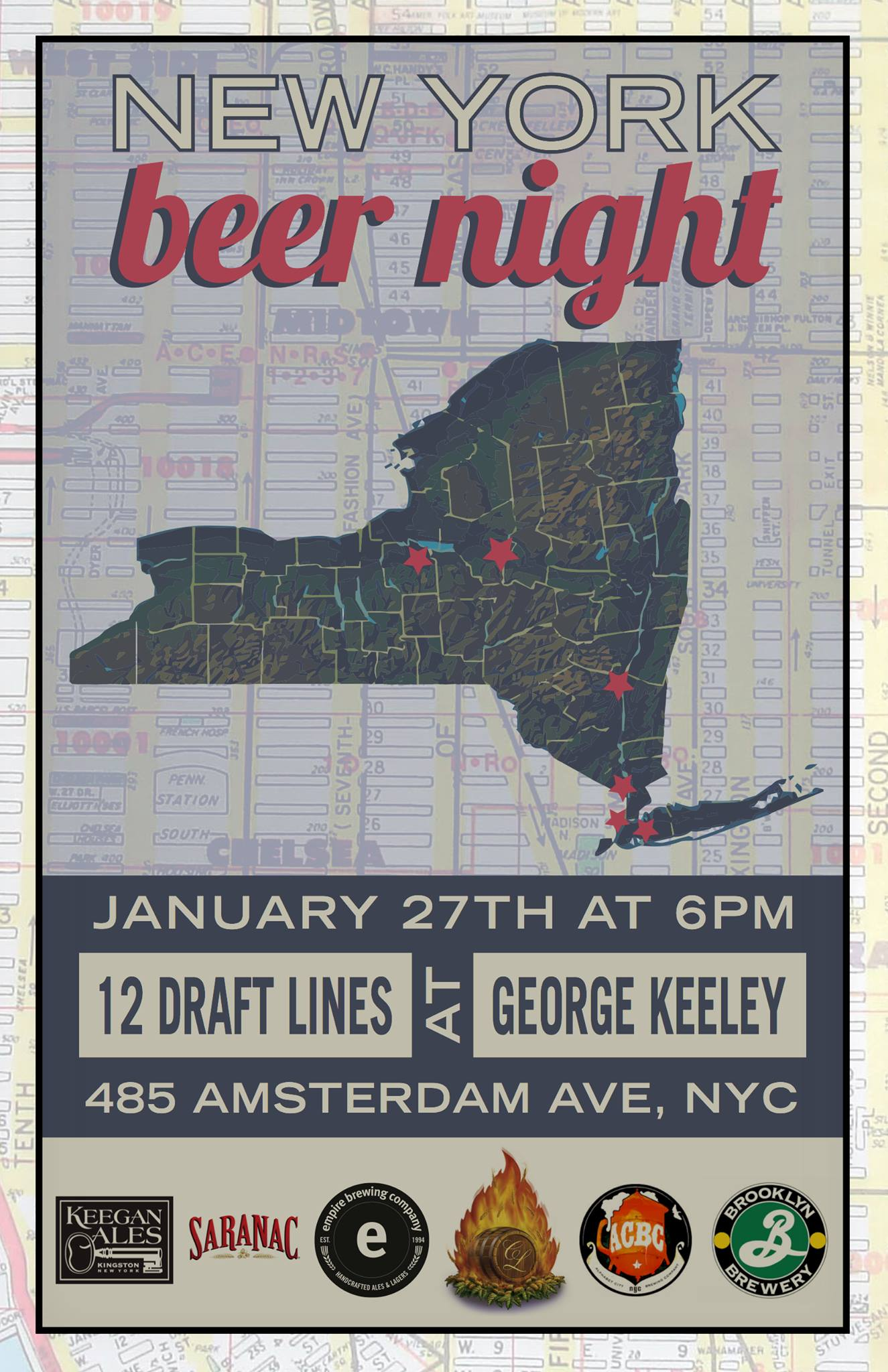 New york beer night at george keeley manhattan craft for New york craft breweries
